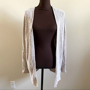 American Eagle Cream Open Front Knit Long Cardigan